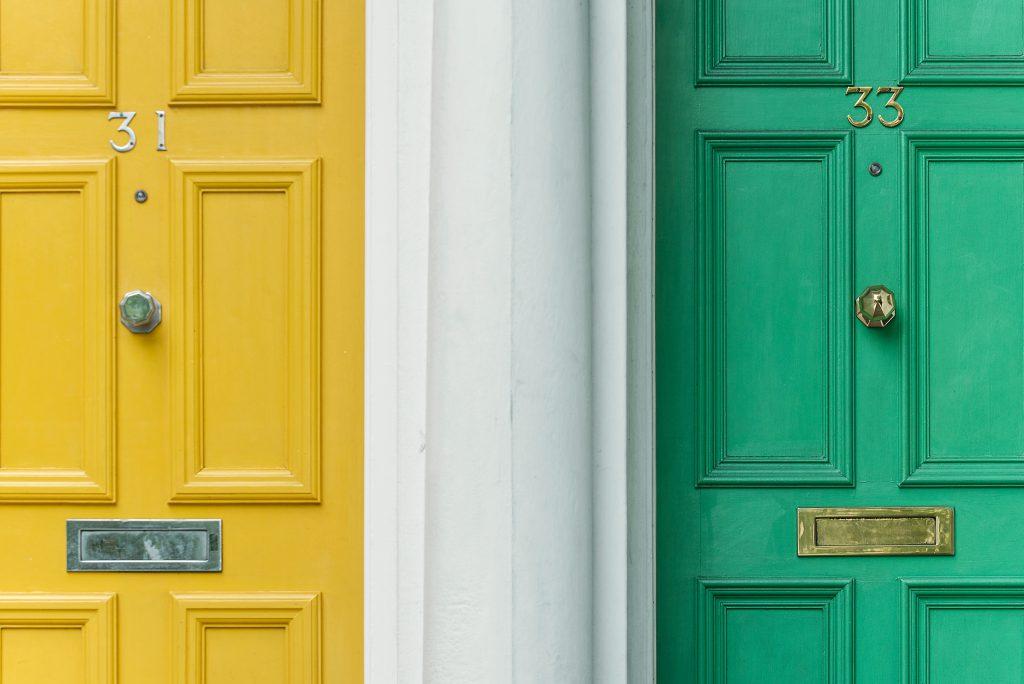 yellow and green home door