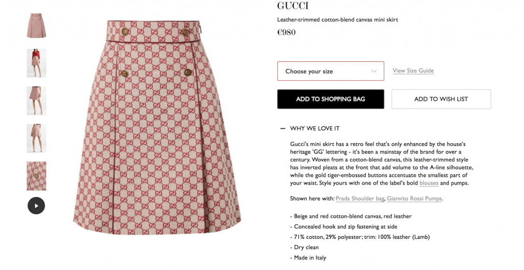 screenshot of one of net-a-porter's product pages and specifically the product description
