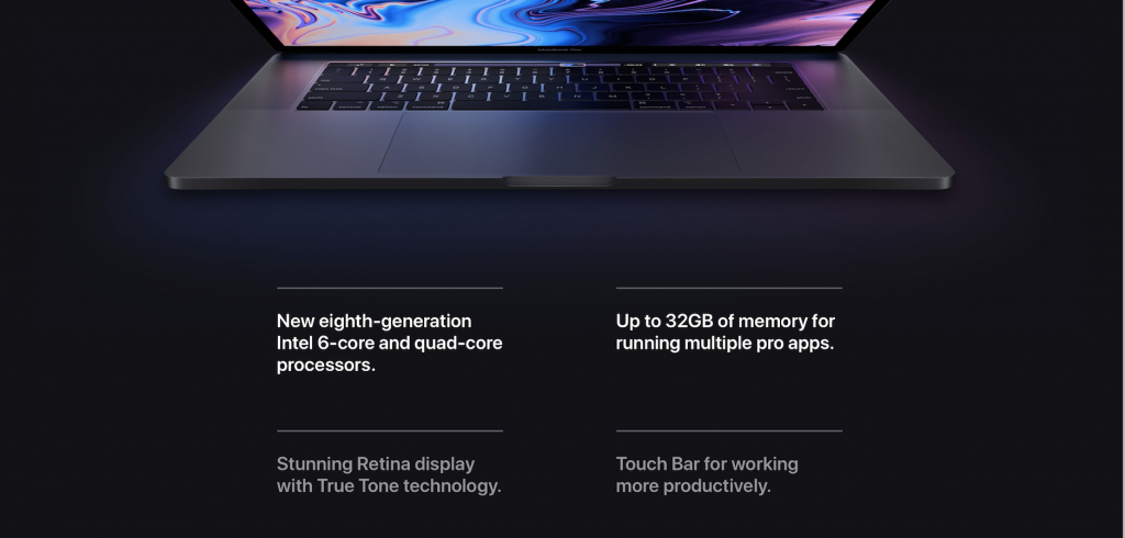 screenshot of apple's macbook pro bullet lists part of its product description