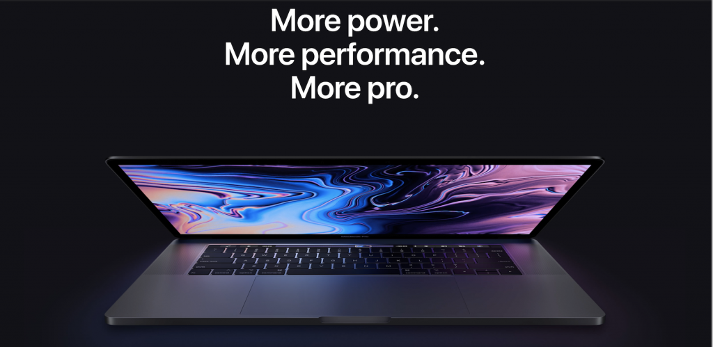 screenshot from the product page of apple's macbook pro and its product description