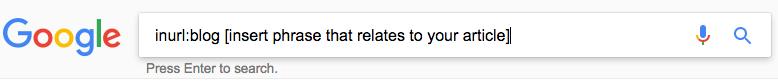 screenshot of an inurl google search