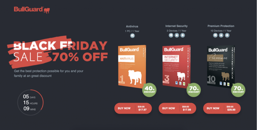 bullguard's landing page for black friday