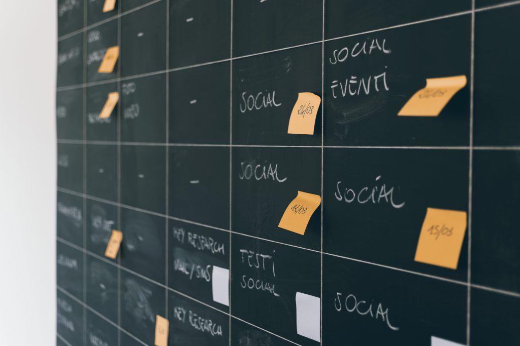 social media cards on a board that looks like a calendar