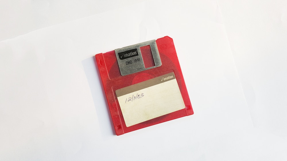 old floppy disc with a date on it